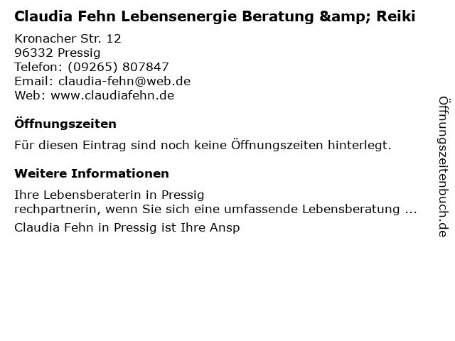 Claudia Fehn Lebensenergie Beratung & Reiki in Pressig: Adresse und Öffnungszeiten