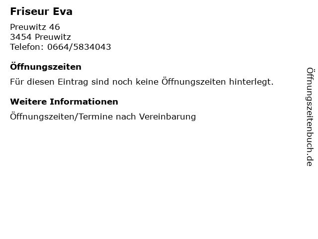 Friseur Eva in Preuwitz: Adresse und Öffnungszeiten