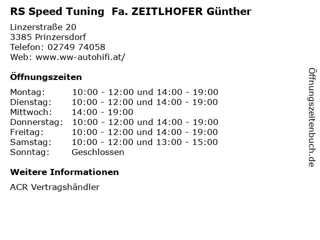 RS Speed Tuning  Fa. ZEITLHOFER Günther in Prinzersdorf: Adresse und Öffnungszeiten