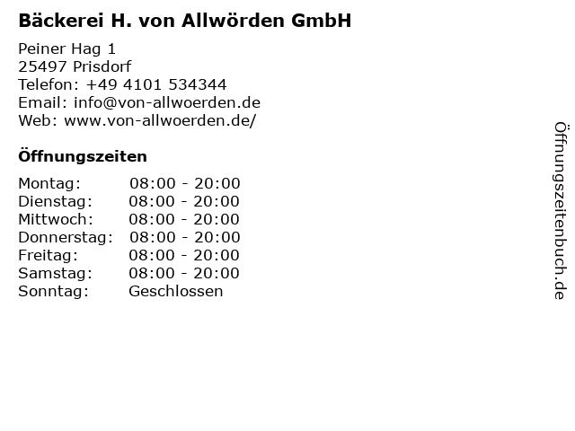 H. von Allwörden GmbH in Prisdorf: Adresse und Öffnungszeiten