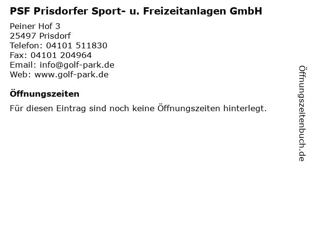 PSF Prisdorfer Sport- u. Freizeitanlagen GmbH in Prisdorf: Adresse und Öffnungszeiten