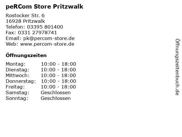 peRCom Store Pritzwalk in Pritzwalk: Adresse und Öffnungszeiten