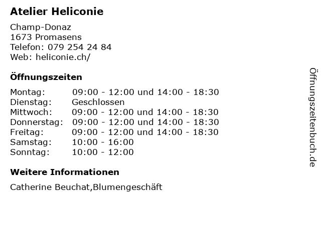 Atelier Heliconie in Promasens: Adresse und Öffnungszeiten
