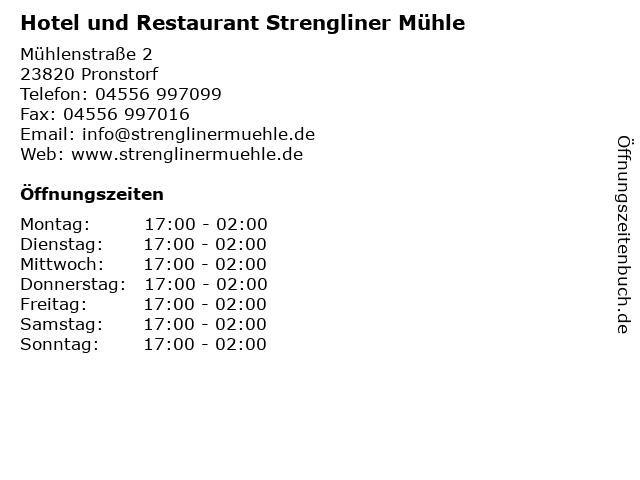 Hotel und Restaurant Strengliner Mühle in Pronstorf: Adresse und Öffnungszeiten