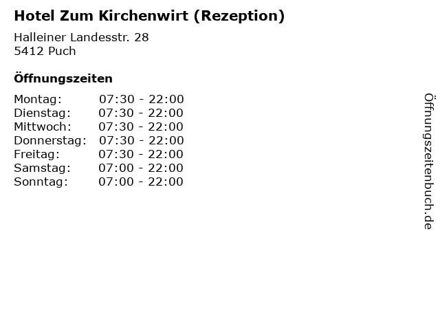 Hotel Zum Kirchenwirt (Rezeption) in Puch: Adresse und Öffnungszeiten