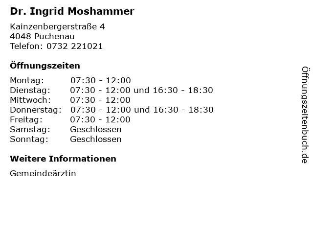 Dr. Ingrid Moshammer in Puchenau: Adresse und Öffnungszeiten