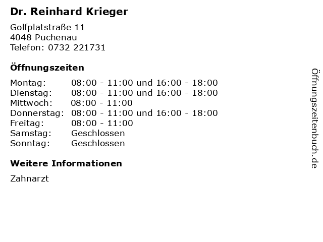 Dr. Reinhard Krieger in Puchenau: Adresse und Öffnungszeiten