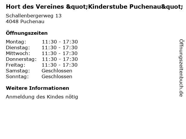 """Hort des Vereines """"Kinderstube Puchenau"""" in Puchenau: Adresse und Öffnungszeiten"""
