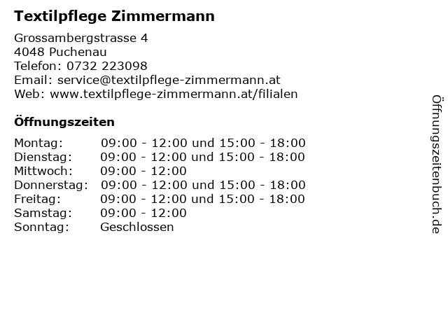 Textilpflege Zimmermann in Puchenau: Adresse und Öffnungszeiten