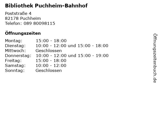 Bibliothek Puchheim-Bahnhof in Puchheim: Adresse und Öffnungszeiten