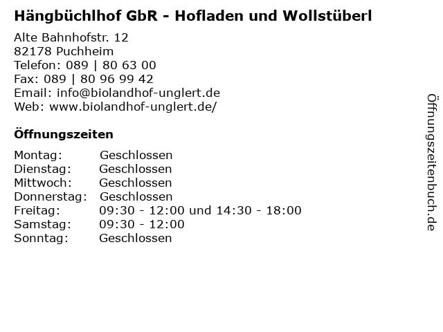 Hängbüchlhof GbR - Hofladen und Wollstüberl in Puchheim: Adresse und Öffnungszeiten