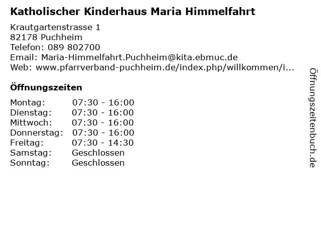 Katholischer Kinderhaus Maria Himmelfahrt in Puchheim: Adresse und Öffnungszeiten