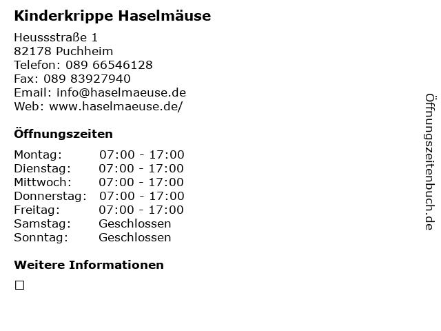 Kinderkrippe Haselmäuse in Puchheim: Adresse und Öffnungszeiten