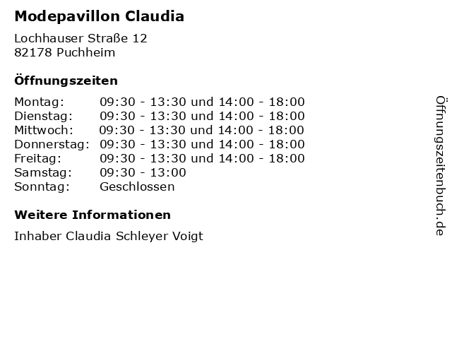 Modepavillon Claudia in Puchheim: Adresse und Öffnungszeiten
