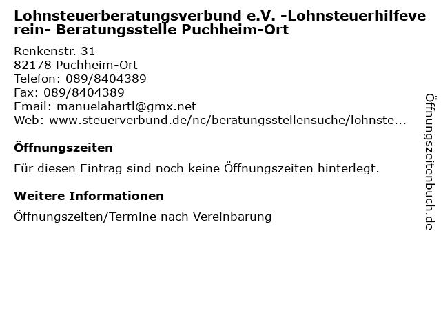 Lohnsteuerberatungsverbund e.V. -Lohnsteuerhilfeverein- Beratungsstelle Puchheim-Ort in Puchheim-Ort: Adresse und Öffnungszeiten