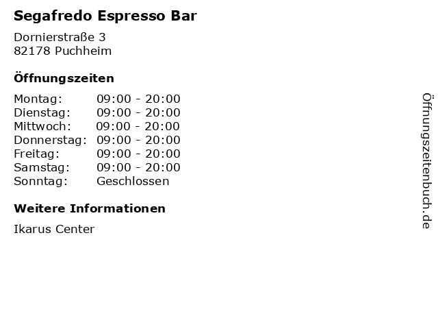 Segafredo Espresso Bar in Puchheim: Adresse und Öffnungszeiten