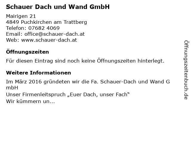 Schauer Dach und Wand GmbH in Puchkirchen am Trattberg: Adresse und Öffnungszeiten