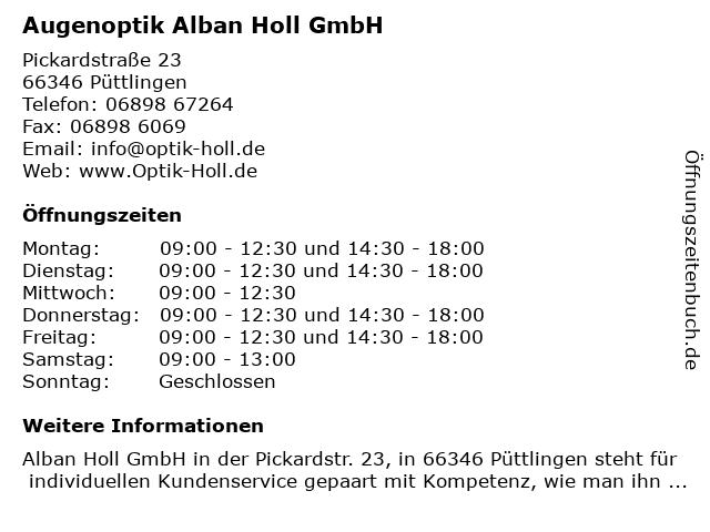 Augenoptik Alban Holl GmbH in Püttlingen: Adresse und Öffnungszeiten