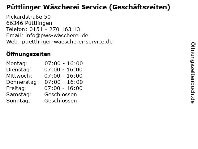 Püttlinger Wäscherei Service (Geschäftszeiten) in Püttlingen: Adresse und Öffnungszeiten