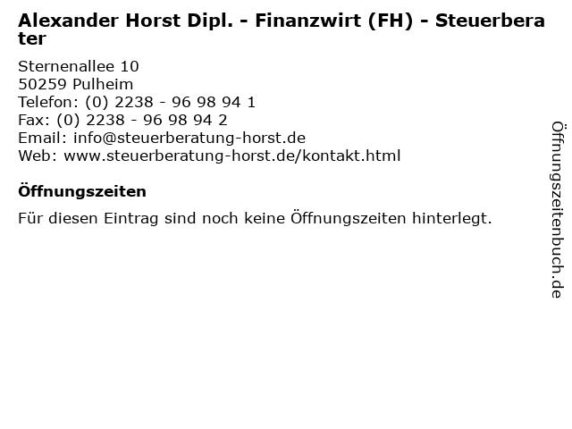Alexander Horst Dipl. - Finanzwirt (FH) - Steuerberater in Pulheim: Adresse und Öffnungszeiten