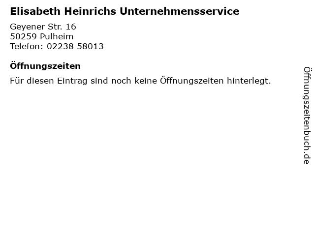 Elisabeth Heinrichs Unternehmensservice in Pulheim: Adresse und Öffnungszeiten