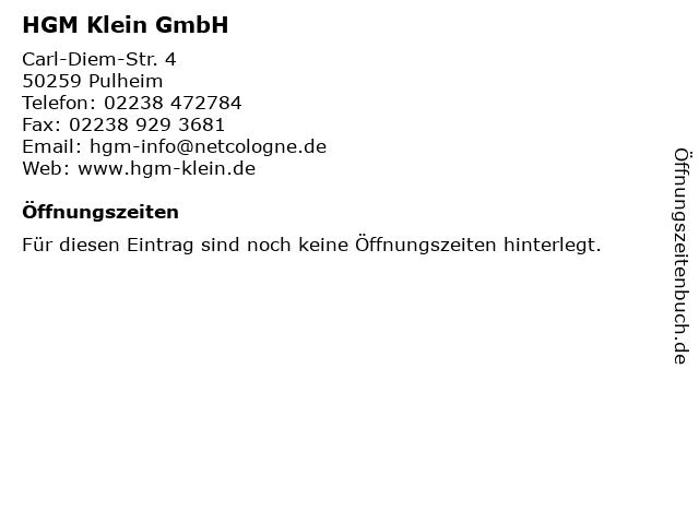 HGM Klein GmbH in Pulheim: Adresse und Öffnungszeiten