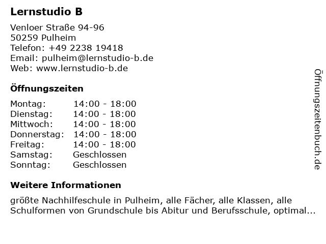 Lernstudio B in Pulheim: Adresse und Öffnungszeiten