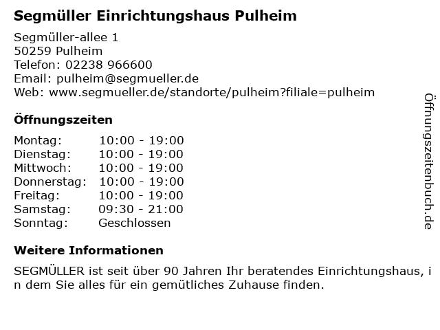 ᐅ Offnungszeiten Segmuller Einrichtungshaus Pulheim Segmuller