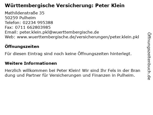 Württembergische Versicherung: Peter Klein in Pulheim: Adresse und Öffnungszeiten