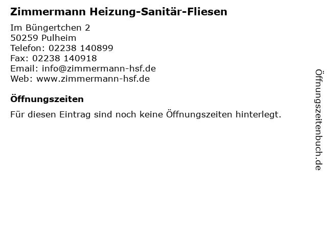 Zimmermann Heizung-Sanitär-Fliesen in Pulheim: Adresse und Öffnungszeiten