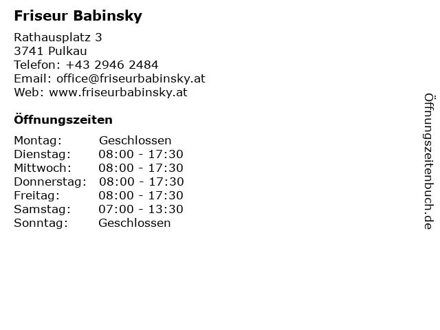 Friseur Babinsky in Pulkau: Adresse und Öffnungszeiten