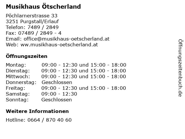 Musikhaus Ötscherland in Purgstall/Erlauf: Adresse und Öffnungszeiten