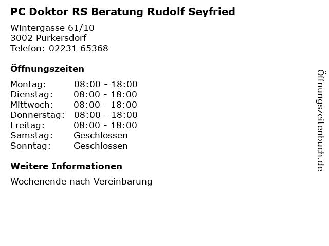 PC Doktor RS Beratung Rudolf Seyfried in Purkersdorf: Adresse und Öffnungszeiten