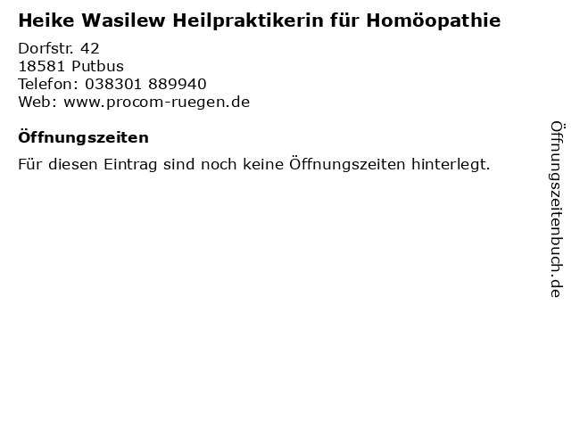 Heike Wasilew Heilpraktikerin für Homöopathie in Putbus: Adresse und Öffnungszeiten