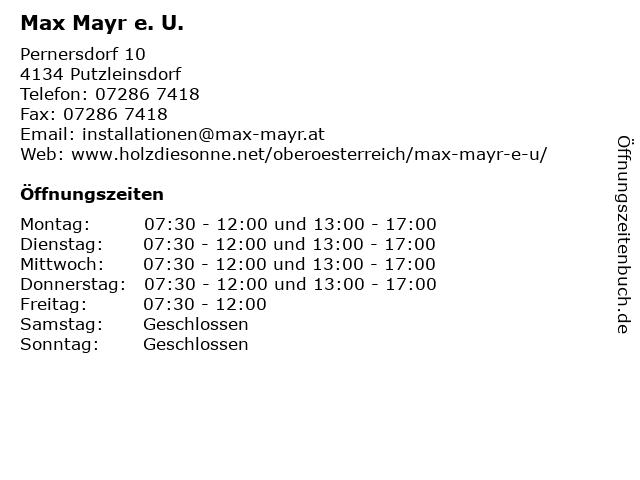 Max Mayr e. U. in Putzleinsdorf: Adresse und Öffnungszeiten