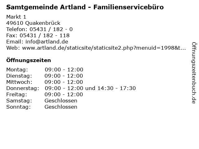 Samtgemeinde Artland - Familienservicebüro in Quakenbrück: Adresse und Öffnungszeiten