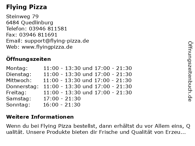 Flying Pizza Karte.ᐅ Offnungszeiten Flying Pizza Steinweg 79 In Quedlinburg
