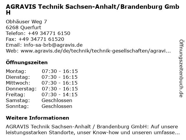 AGRAVIS Technik Sachsen-Anhalt/Brandenburg GmbH in Querfurt: Adresse und Öffnungszeiten