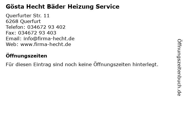 Gösta Hecht Bäder Heizung Service in Querfurt: Adresse und Öffnungszeiten