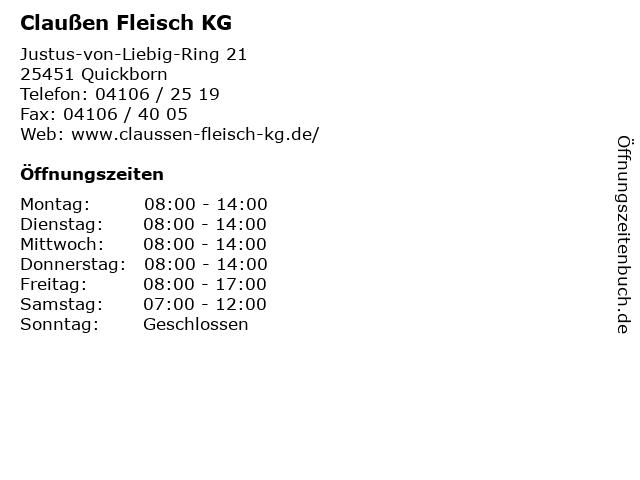 Claußen Fleisch KG in Quickborn: Adresse und Öffnungszeiten