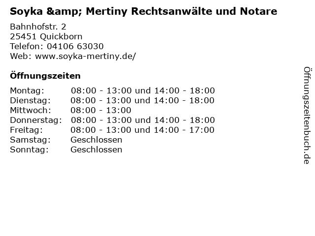 Soyka & Mertiny Rechtsanwälte und Notare in Quickborn: Adresse und Öffnungszeiten