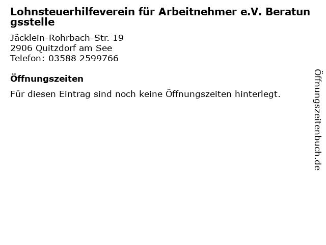 Lohnsteuerhilfeverein für Arbeitnehmer e.V. Beratungsstelle in Quitzdorf am See: Adresse und Öffnungszeiten