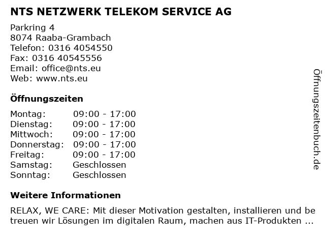 NTS Netzwerk Telekom Service AG in Grambach bei Graz: Adresse und Öffnungszeiten