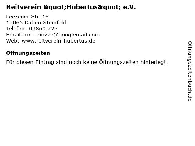 """Reitverein """"Hubertus"""" e.V. in Raben Steinfeld: Adresse und Öffnungszeiten"""