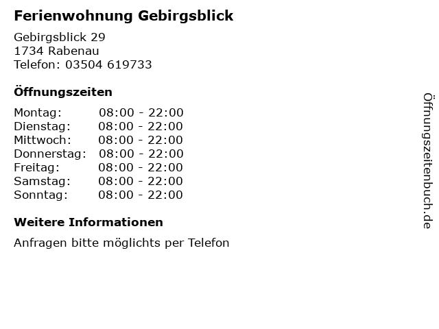 Ferienwohnung Gebirgsblick in Rabenau: Adresse und Öffnungszeiten