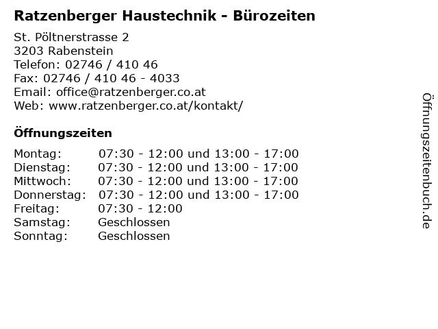 Ratzenberger Haustechnik - Bürozeiten in Rabenstein: Adresse und Öffnungszeiten