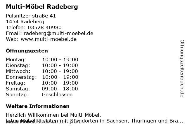 ᐅ Offnungszeiten Multi Mobel Gmbh Pulsnitzer Str 41 In Radeberg