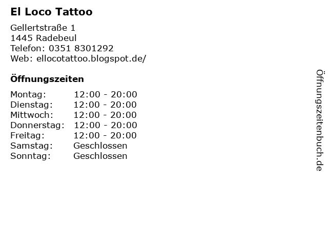 El Loco Tattoo in Radebeul: Adresse und Öffnungszeiten