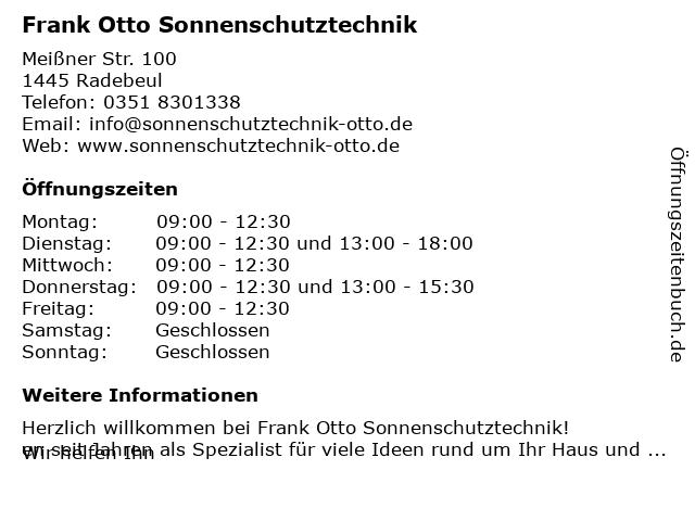 Frank Otto Sonnenschutztechnik in Radebeul: Adresse und Öffnungszeiten