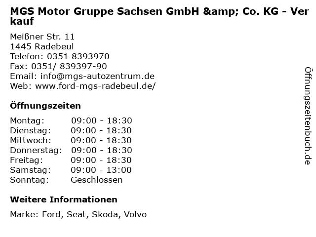 MGS Motor Gruppe Sachsen GmbH & Co. KG - Verkauf in Radebeul: Adresse und Öffnungszeiten